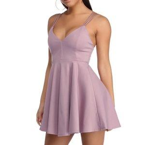 Windsor Lavender Criss Cross Skater Mini Dress